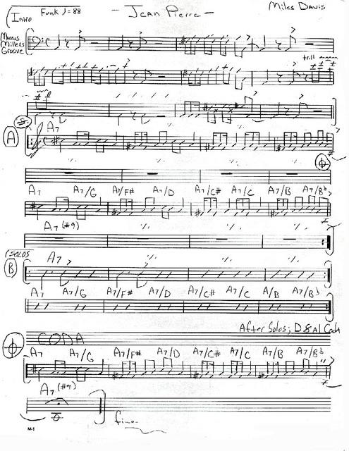 Jean Pierre (Miles Davis) partition